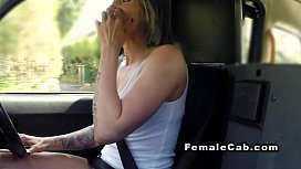 Brit lesbian fake taxi driver in oral sex
