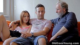Old Goes Young - Sveta and her man are casually laying around their living room catlist com