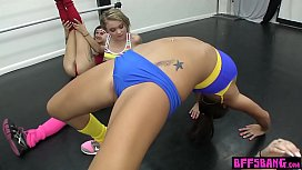 Unusual aerobic sessoin with teen BFFs and a big cock image
