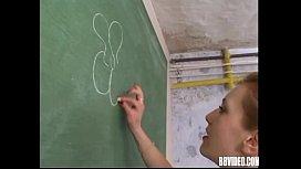 German schoolgirl gets facialized in classroom