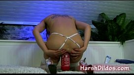 Hot mature anal penetration with fire extinguisher