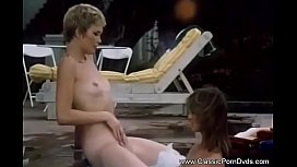 Outdoor Pool Lesbian Lovers