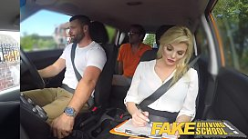 Fake Driving School Sexy busty posh blonde examiner sucks and fucks in car