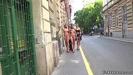 Naked sluts walked in city center