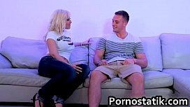 Slutty blonde Karlie Simone joins a guy