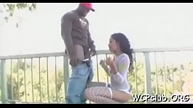 Black playgirl feels enormous big black knob in mouth and ass