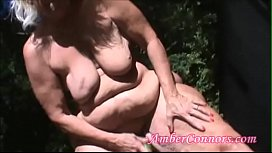 Wide Hips Granny Fucks Herself and Pees
