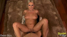Blonde Diana Doll suck and fuck cock horse cumshots