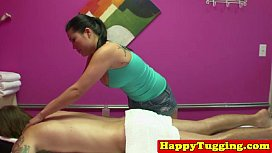 Busty tugging asian masseuse father daughter porn