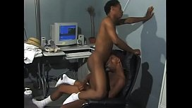 Hot Black Stud Deep Throats His Partners Cock In An Office