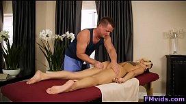 Big ttis blonde Kenzie Taylor riding cock after massage