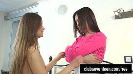 Teen lesbians play with a dildo