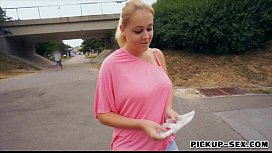 Amateur Paris Sweet flashes her big tits and fucked in public