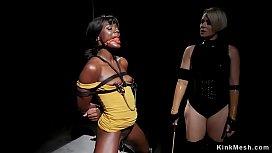 Ebony slut butt banged by lesbian Milf