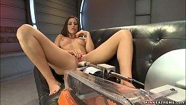 Long legged brunette bangs machine