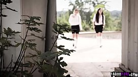 Teen bestfriends Eliza Jane and Whitney Wright skipped classes and went to an abandoned house.A paranoid guy saw them and fucked them both.