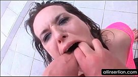 Kinky wet bitch gets ass dildoed hard at the pool sex image