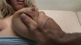 SUPER HOT BLONDE WITH HUGE OILED BOOBS TITFUCKING FOR FACIAL