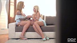 Glamour Lesbians Kimber Delice & Maisie Rain Strap-on Sex