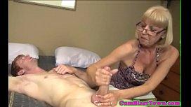 Cumcovered mature amateur pleasing cock