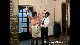 Tied up fat mature slut enjoying