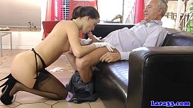 Glam euro cougar shares dick with babe