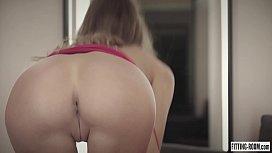 Hot Melena Maria fucks her ass with a dildo inside a fitting room