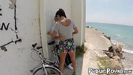 Provocative Franceska Jaimes bouncing on beach cock