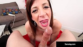 Super Star, Sara Jay, Sucks Cock & Gets A Load In Her Mouth!