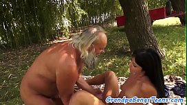 Hairy eurobabe fucked by oldman until cumshot