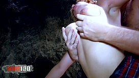 Fucking the blonde slut like crazy in a cave