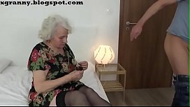 Horny granny sex in the bed