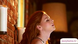 Hot redhead babe striptease