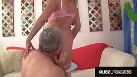 Big Tits Blonde Granny Sara Skippers Pleasures a Lucky Old Man