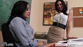 Busty teachers Gracie Glam Kendra Lust sharing student