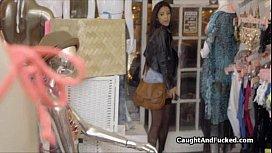 Busted Latina shoplifter sucks cock
