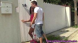 Hot teen spunked poolside
