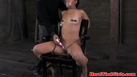 Sub Mia Gold chair bounded riding dildo