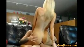 Petite blonde gf fucks bf in lots of positions on webcam