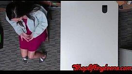 Teen shoplifter deepthroating mall cops dick