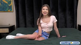 Fake casting of a super cute amateur latina teen hottie