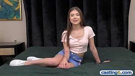 Fake casting of a super cute amateur latina teen hottie
