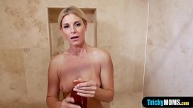 Fucking my classy blonde MILF stepmother in the shower