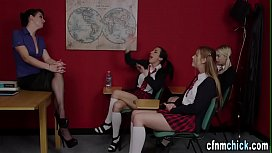 Clothed brit teacher tugs