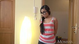 MOM Petite Thai maid shocks young man of house with a fuck in his bedroom