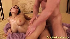 busty babe Dominno gets rough tit fucked