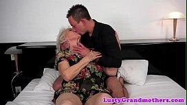 Chubby grandma titfucked and pussy banged
