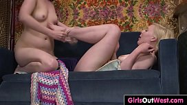 Girls Out West - Lesbian amateurs taste hairy pussy and ass