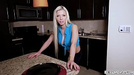 Blonde stepmom wraps her stepsons dick with her tongue!