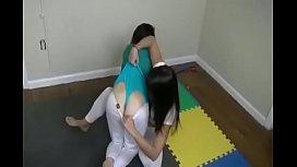 Girl wrestling wedgie
